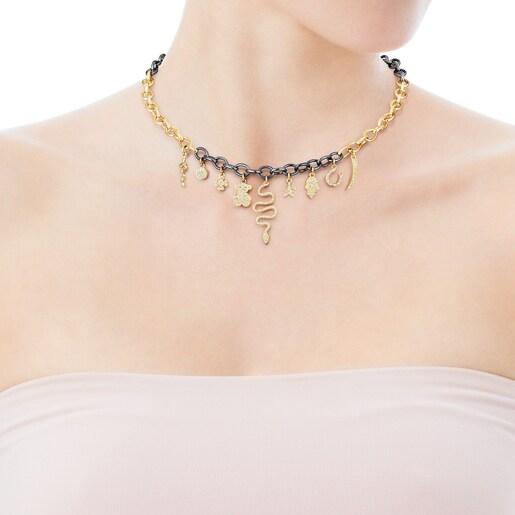 Κολιέ TOUS Good Vibes από Χρυσό και Ασήμι Dark Silver με Διαμάντια