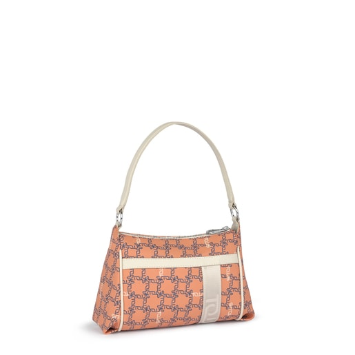 Mini orange-beige Tous Logogram shoulder bag