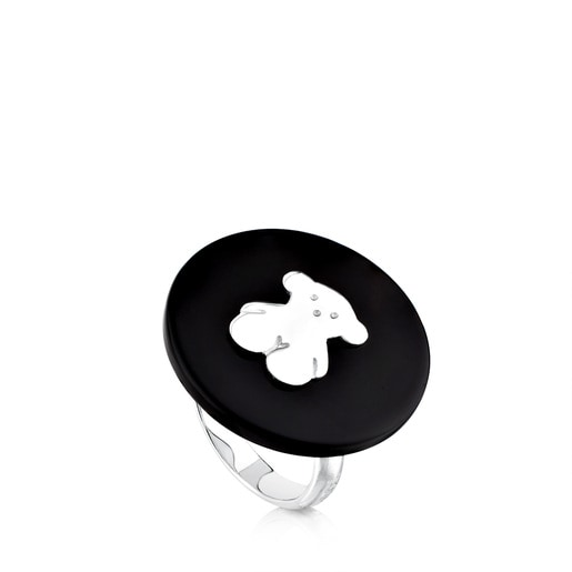 Silver Confeti Ring with Onyx