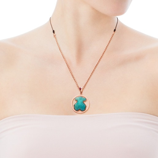 Rose Vermeil Silver Camille Necklace with Amazonite, Ruby and Pearl