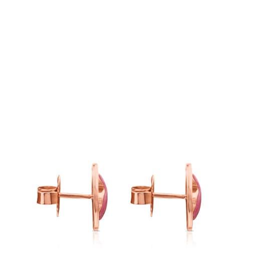 Rose Vermeil Silver Camille Earrings with Rhodonite