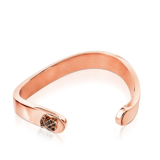 Pink Vermeil Silver Rolling Cuff with Spinel