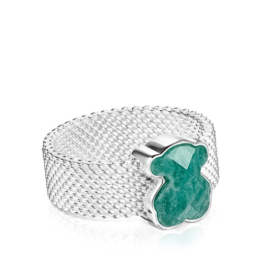 Silver TOUS Mesh Color Ring with faceted Amazonite Bear motif