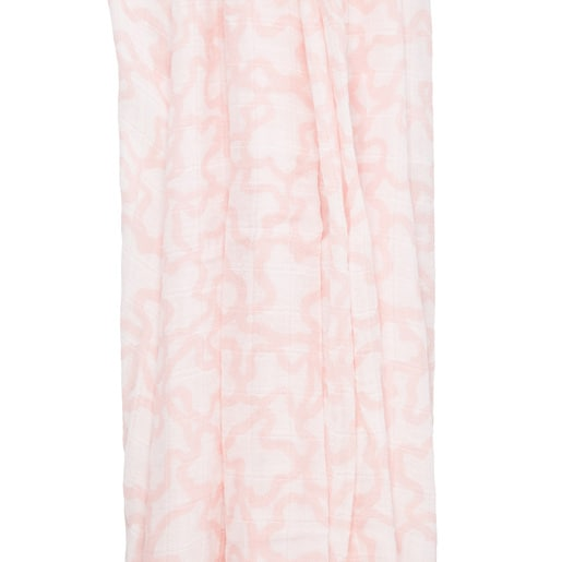 Kaos print Muslin blanket with a Pink Bear cover