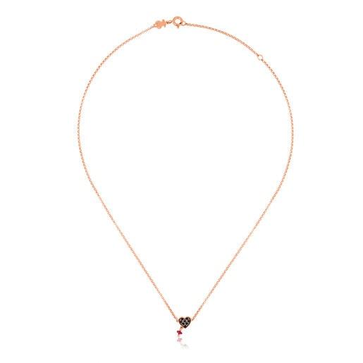 Collar Motif de Plata Vermeil rosa, Espinela y Rubí motivo corazón