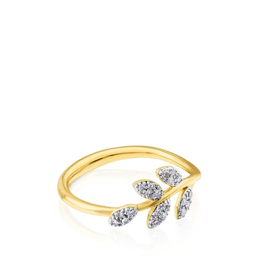 Gold Gem Power Ring with Diamonds
