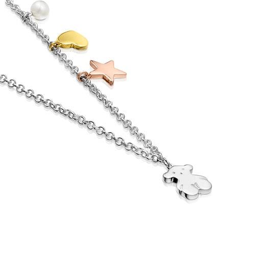 Collar Sweet Dolls de Plata con Plata Vermeil, Plata Vermeil rosa y Perla