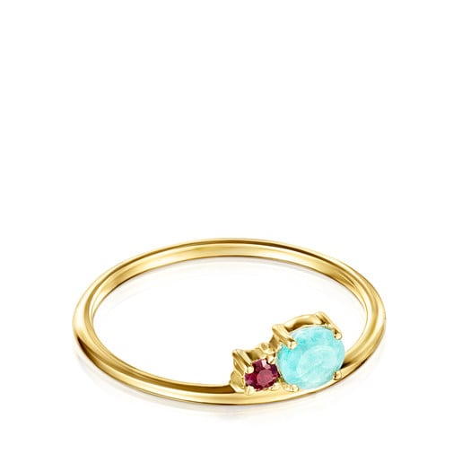 Mini Ivette Ring in Gold with Amazonite and Ruby