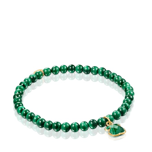 Silver Vermeil and Malachite Icon Color Bracelet
