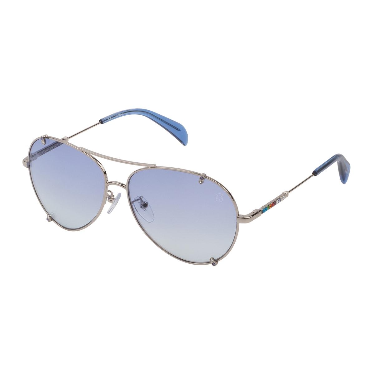 Gafas de sol Straight Gema de metal en color plata y azul