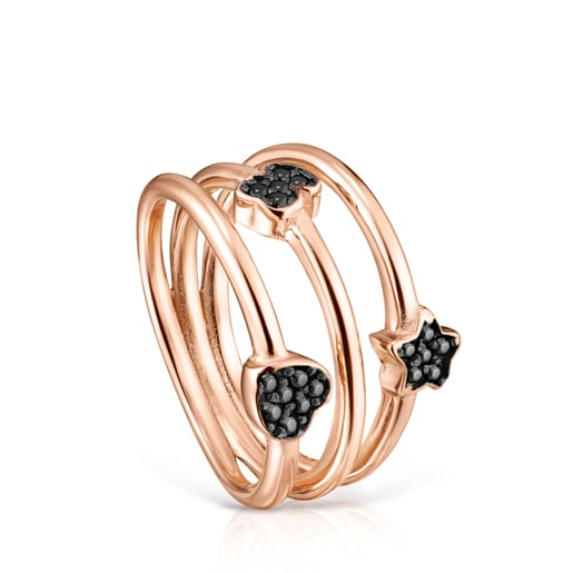 TOUS Motif Ring in Rose Silver Vermeil with Spinels