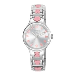 Steel Dolls Watch with pink Silicone motifs
