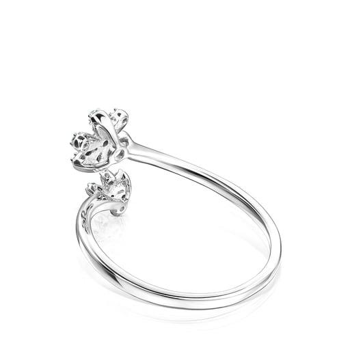 Bague ouverte Blume en Or blanc et Diamants