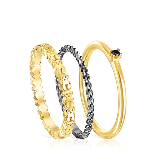 Silver Vermeil, Dark Silver and Spinel TOUS Ring Mix Rings set