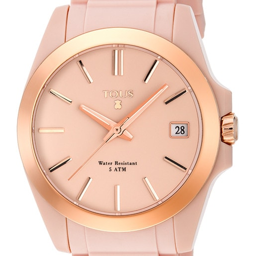 Rose IP Steel Drive Fun Watch with nude Silicone strap
