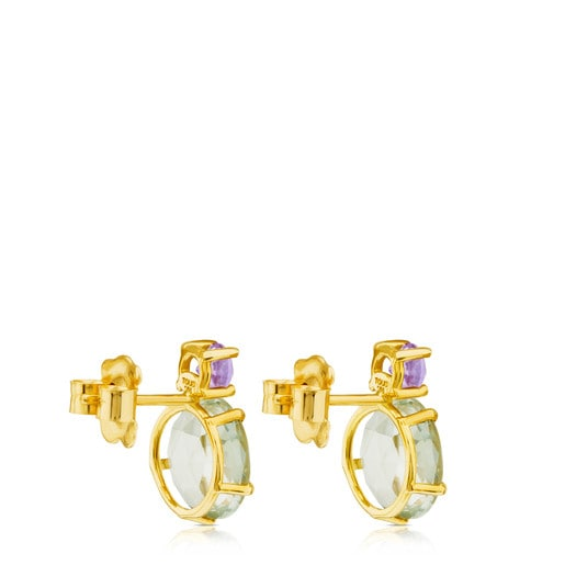 Ivette Earrings in Gold with Praseolite and Amethyst
