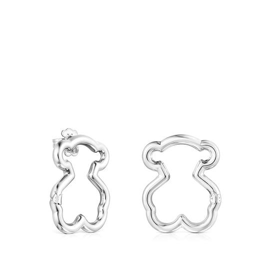 Medium Hold Silver Bear Earrings