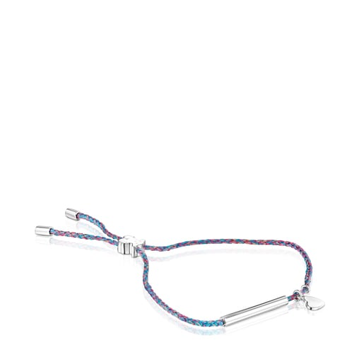 Silver TOUS Good Vibes heart Bracelet with blue Cord