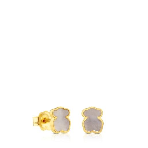 Aretes XXS oso de Oro y Nacar