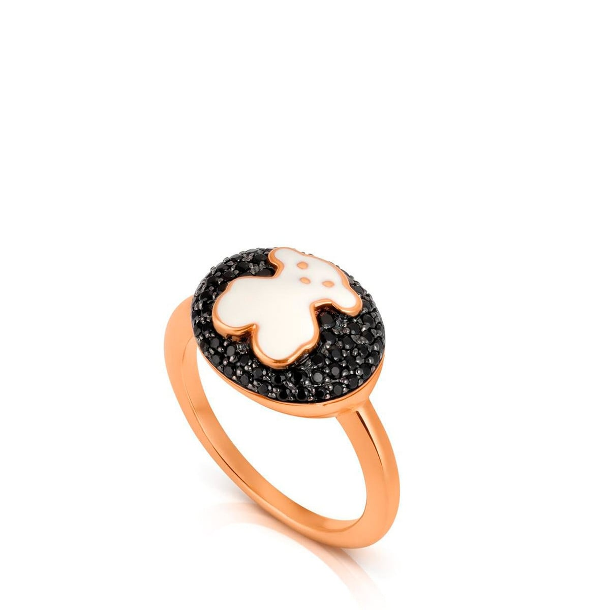 Gold TOUS Bear Ring with Spinels and Enamel