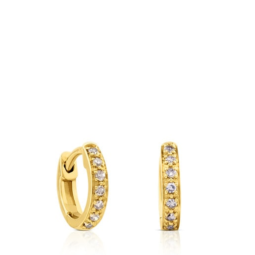 Gold Gem Power Earrings with Diamonds omega back.