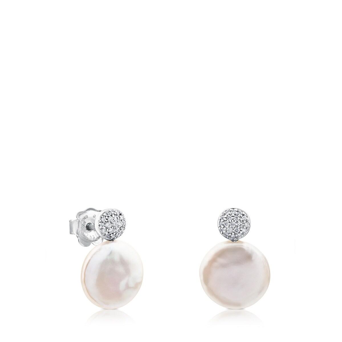 fe1be8eecfde Pendientes Alecia de Oro blanco con Diamantes y Perla - Sitio web ...