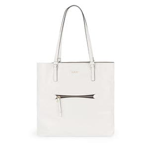 Large white Leather Tulia Crack Shopping bag
