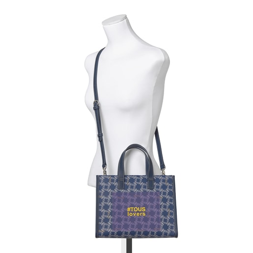 Medium Blue Amaya Logogram Shopping Bag