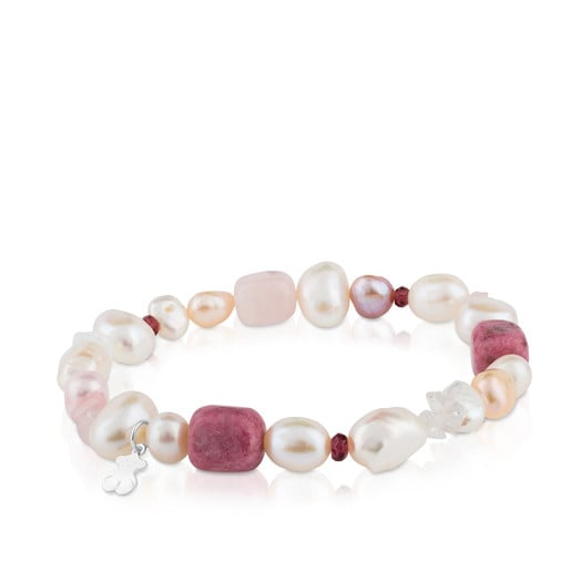 Silver TOUS Pearls Bracelet with Pearls, Garnets and Rhodonites