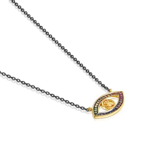 Collar TOUS Good Vibes ojo de plata vermeil, plata dark silver y gemas