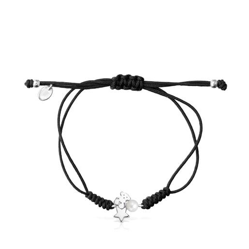 Pulsera de plata con perla y cordón negro Nocturne
