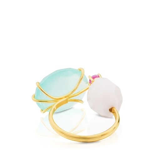 Gold Ethereal Ring with Chalcedony, Ruby and Opal