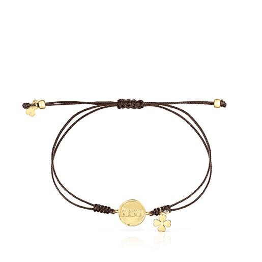 Bracelet TOUS Good Vibes Mama en Or, Diamants et Cordon marron