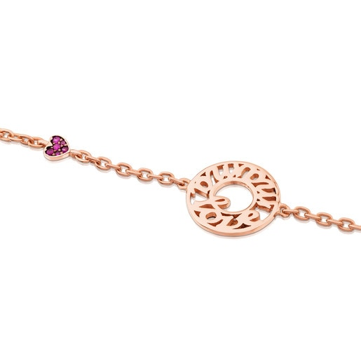 Pink Vermeil Silver TOUS Mama Bracelet with Ruby