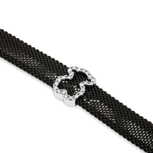 Black IP steel and White gold TOUS Icon Mesh Bracelet with Diamonds Bear motif 0,8cm. 0,14ct