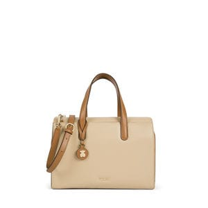 Tan-beige Leather Rose Bear Bowling Bag
