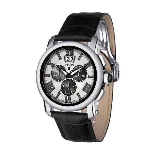 Zweifarbige Uhr Born aus schwarzem IP Stahl mit schwarzem Lederarmband