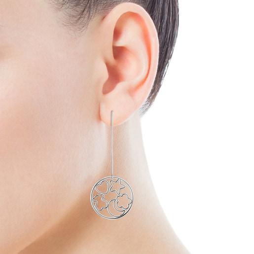 Boucles d'oreilles Silueta longues en Argent