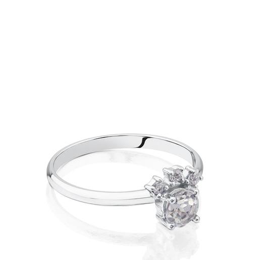 Anel Eklat em Ouro branco com Diamantes e Topázio