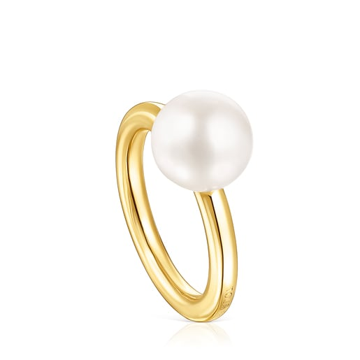 Anillo Gloss de plata vermeil y perla