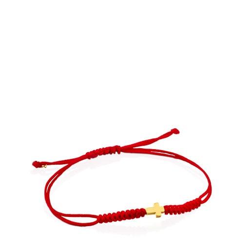 Kreuz-Armband Sweet Dolls XXS aus roter Kordel und Gold