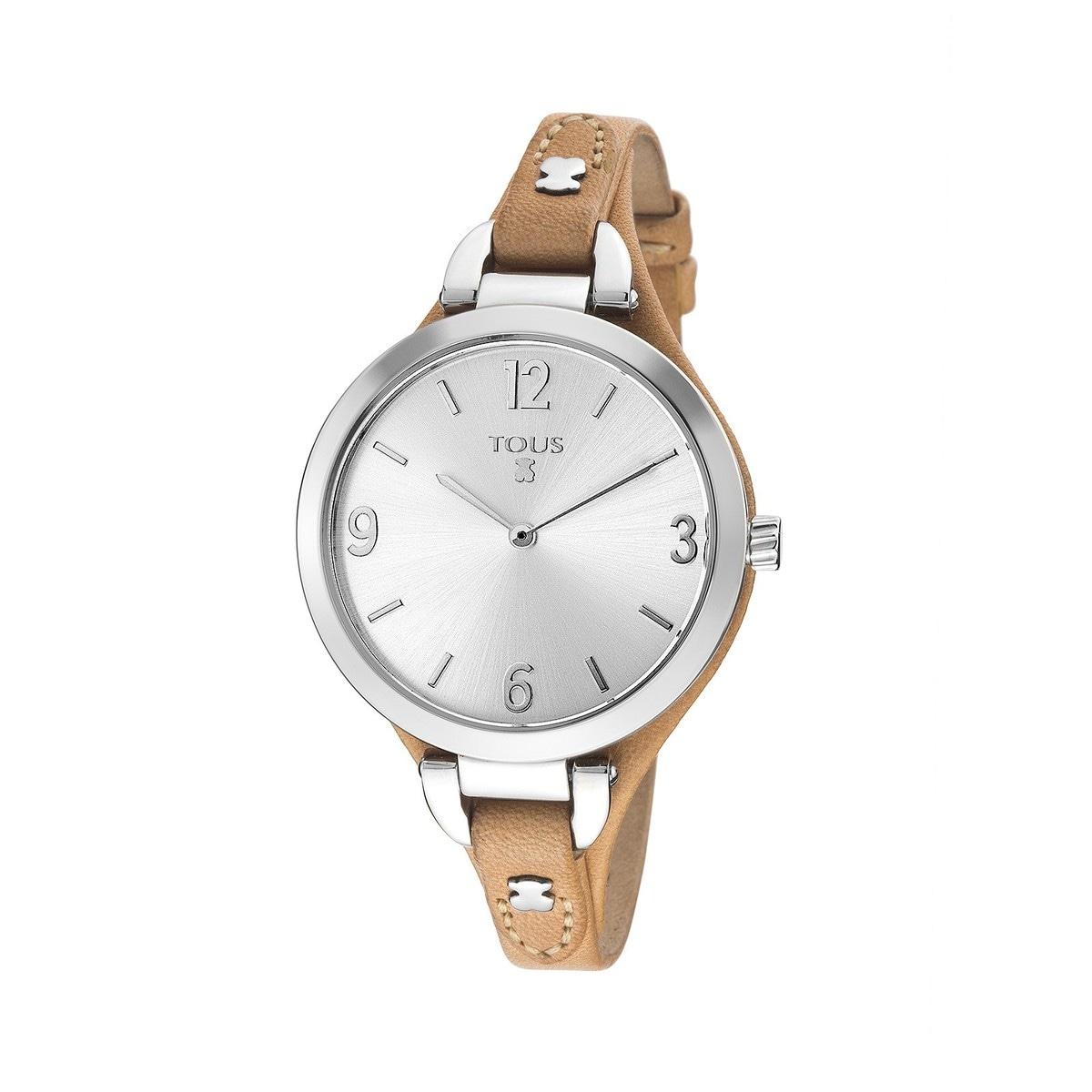 Reloj Bohème de acero con correa de piel camel