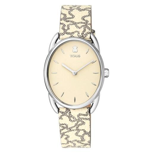 Reloj Dai de acero con correa de piel Kaos beige
