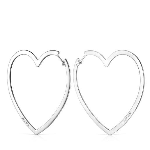 Pendientes aro corazón de plata Silueta