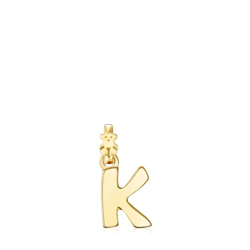 Colgante letra K de plata vermeil Alphabet