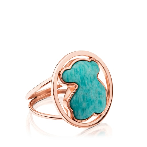 Rose Vermeil Silver Camille Ring with Amazonite
