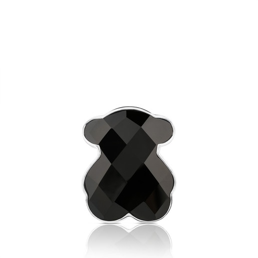 Silver TOUS Color Ring with faceted onyx 2,9cm.