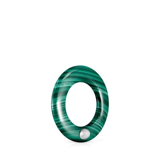 Grand anneau Hold Gems en Malachite et en Argent