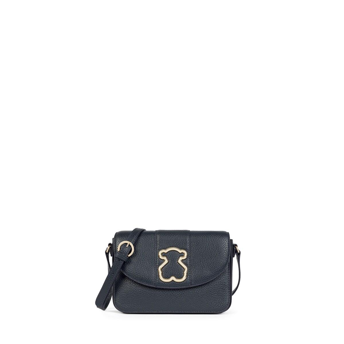 e8c43620f Small navy colored Leather Alfa Crossbody bag - Tous Site GB