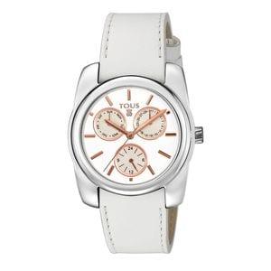 Rellotge Bercy d'acer amb corretja de pell blanca
